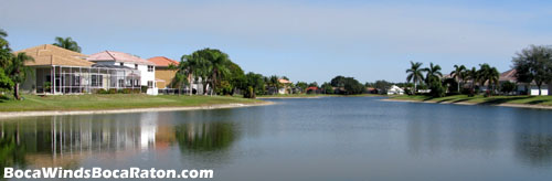 Lake views such at this are plentivul at Boca Raton's Boca Winds community.